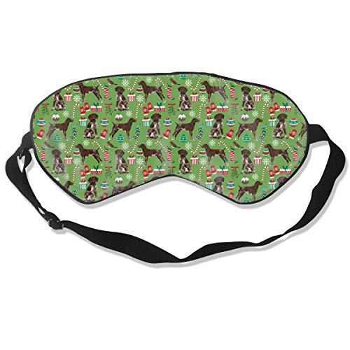 YINLAN Lightweight Comfortable Eye Mask Super Soft German Shorthaired Pointer Dogs Men Women Silk Blindfold Block Out Light Adjustable Strap Eye Masks for Family Hotel Airplane ()