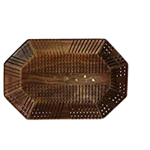 Wood Handmade 14 X 9 Inch Tray - Wooden Serving Tray with Brass Etchings
