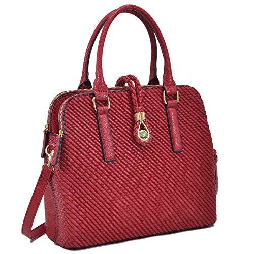 Dasein Magnetic Latch Shoulder Bag Triple Compartments Satchel Briefcase Handbag Laptop Bag Woven-red