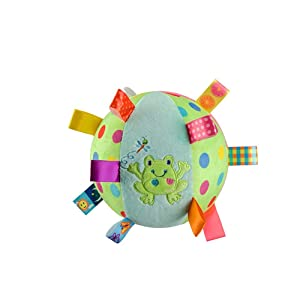 LETTON Taggies Ball-Baby Kid Infant Early Educational Soft Plush Tag Colorful Ball Hand Grasp with Bell Inside