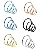 Best Hoop Nose Rings - Thunaraz 24Pcs Stainless Steel Nose Ring Fake Nose Review