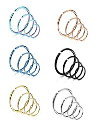 Thunaraz 24Pcs Stainless Steel Nose Ring Fake Nose Ring Hoop Non Pierced Huggie Rings 20G