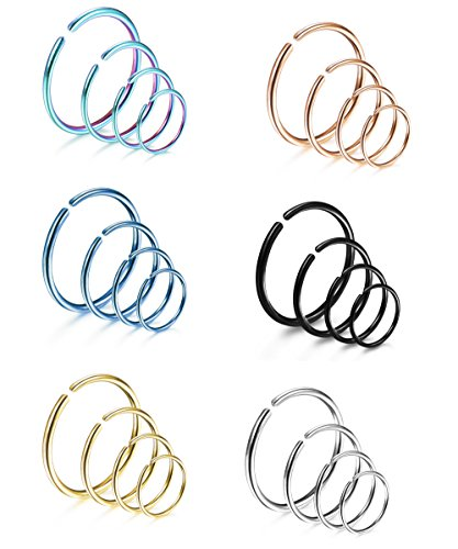 LOYALLOOK 24Pcs 18G 316L Stainless Steel Nose Ring Cartilage Earrings Hoop Septum Piercing 6-12mm (6pcs each(6/8/10/12mm)) 20G (Nose Rings)