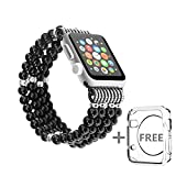 Solomo Apple Watch Band Replacement, Decorated Handmade Luxury Jewelry Faux Pearl Bracelet Elastic Stretch iWatch Strap with Girls Women Wristband for Apple Watch Series 2 / 1 All Version (42MM Black)