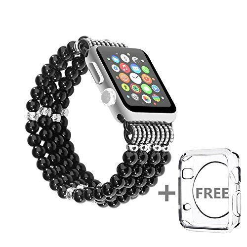 Solomo Apple Watch Band Replacement, Decorated Handmade Luxury Jewelry Faux Pearl Bracelet Elastic Stretch iWatch Strap with Girls Women Wristband for Apple Watch Series 3/2/1 All Version (38MM Black)