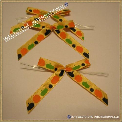 25 Pcs Satin Pre-tied Ribbon Bows for halloween - Orange Pumpkins ()