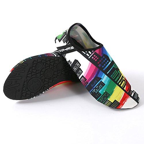 SENFI Wasserschuhe athletische Aqua-Socke für Wasser-Sport-Strand-Pool-Boot B.schwarz
