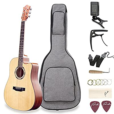 "Acoustic Guitar Ranch 41"" Full Size Cutaway Beginners Wooden Guitars Kit Bundle with Gig Bag, Tuner, Guitar Capo, Steel Strings, Strap, 2 Picks, Adjustment tool Set - Starter Guitar Pack for Adults"