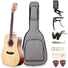 """Acoustic Guitar Ranch 41"""" Full Size Cutaway Beginners Wooden Guitars Kit Bundle with Gig Bag, Tuner, Guitar Capo, Steel Strings, Strap, 2 Picks, Adjustment tool Set - Starter Guitar Pack for Adults"""