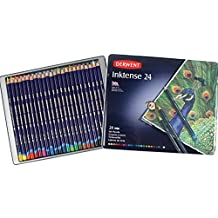 Derwent Inktense Pencils, 4mm Core, Metal Tin, Assorted Colors, 24 Count (0700929)
