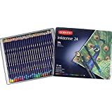 Derwent Drawing Pencils, Inktense, 4mm Core, Metal Tin, Watercolor, 24 Per Pack (0700929)