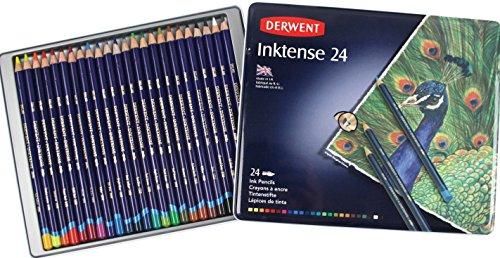 Derwent Drawing Pencils, Inktense, 4mm Core, Metal Tin, Watercolor, 24 Per Pack (0700929)
