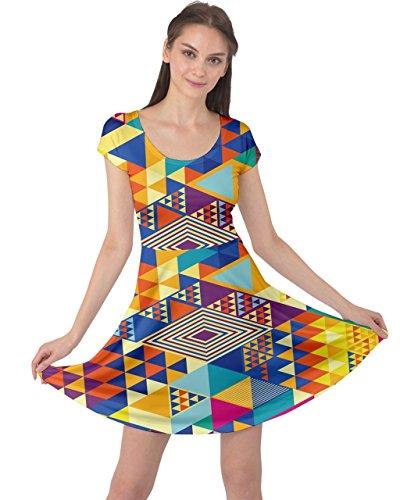 5xl Cowcow Corta Geometrica Xs Manica Arcobaleno Colorato Astratto Colorato Retro Geometrico Vestito Womens Triangolo Gemma q7dXwc4