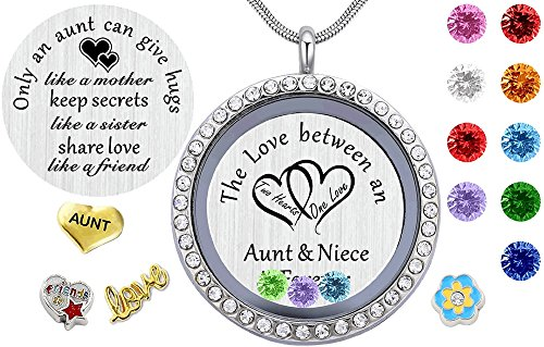 Beffy My Aunt Gifts from Niece, Magnetic Closure Living Memory Floating Charms Locket, 30mm Round Crystals Pendant Necklace with Birthstone by Beffy