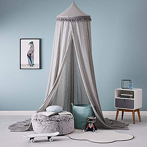 OldPAPA Bed Canopy Mosquito Net Curtains for Children Bed - Toddler Chiffon Crib Canopy Princess Round Dome Tassel Playing Reading Tent Castle Decoration