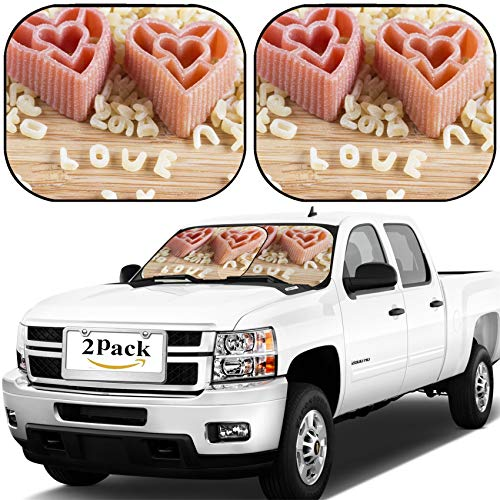 MSD Car Windshield Sun Shade, Universal Fit, 2-Piece for Car Window SunShades, Automotive Foldable Protector Cover, Heart Shaped Pasta and Alphabet Soup Image ID - Alphabet Soup Pattern