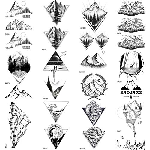 COKTAK 12Pieces/Lot Black Mountain Temporary Tattoos For Men Boys Women Triangle Marine Sea Wave Body Art Arm Legs Water Transfer Fake Tattoo Forest Sticker Sheets Children Tatoos Sheet Adult Paper