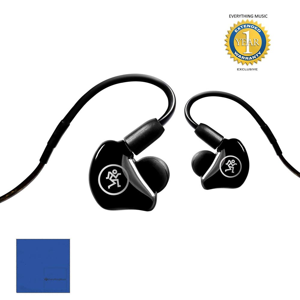 Mackie MP-240 Hybrid Dual Driver Professional In-Ear Monitors with 1 Year EverythingMusic Extended Warranty Free