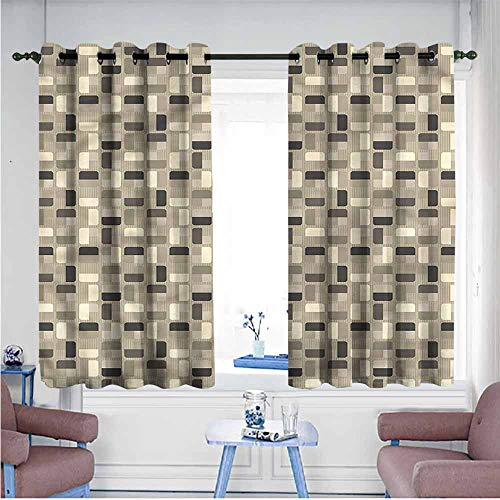 (VIVIDX Grommet Window Curtains,Ivory and Grey,Retro Mosaic Tiles,Curtains for Living Room,W55x45L)