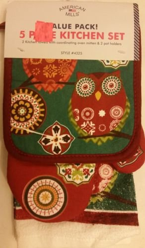 The Pecan Man Coulple Owl Vintage Everyday Kitchen Set of 5,2 POT HOLDERS, 1 OVEN MITT & 2 TOWELS