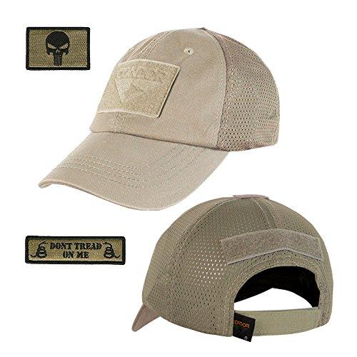 (Gadsden and Culpeper Operator Cap Bundle - w Punisher/Dont Tread Patches (Tan/Khaki - Mesh))