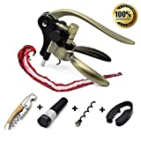 6 Pieces Best Wine Opener Corkscrew Set with Gift Box Lever Corkscrew with Foil Cutter and Extra Waiters Corkscrew,Wine Bottle Opener Rabbit Gift Sets for Sommeliers Waiters and Bartenders