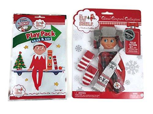 [Elf on the Shelf Polar Pattern Play Pack Bundle: Polar Pattern Plaid Outfit, Play Pack Activity Kit] (Elf On Shelf Costumes)