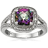 Sterling Silver Diamond Accent and Cushion Shape Gemstone Ring