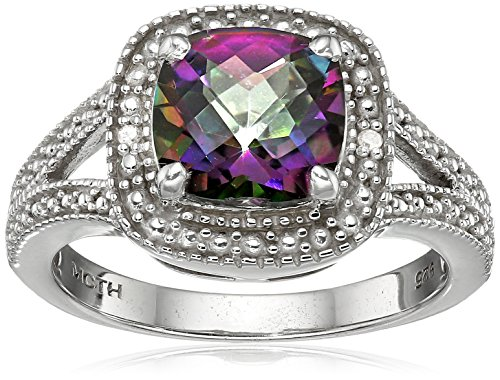 Sterling Silver Diamond Accent and Cushion Shape Mystic Fire Topaz Ring, Size - Ring Topaz Mystic Diamond