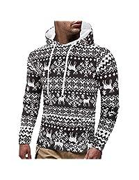 WOCACHI Christmas Mens Hoodies Xmas Reindeer Jumper Hooded Sweatshirt Pullover
