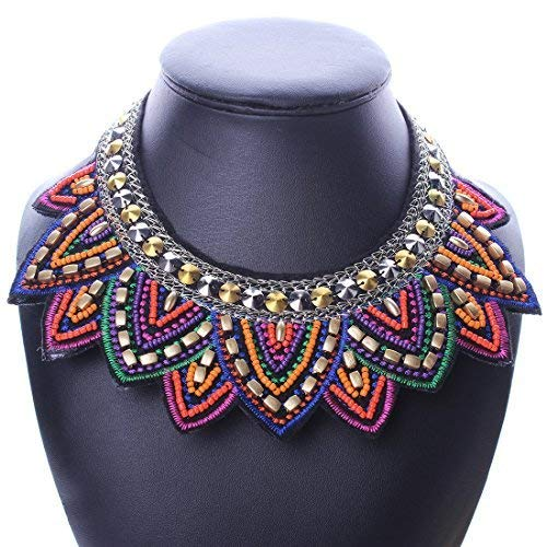 Qiyun Tribal Handmade Spiky Geometric Triangle Charm Bib Choker Necklace Charme Triangle Ge ome trique He risse s Collier W005N2519