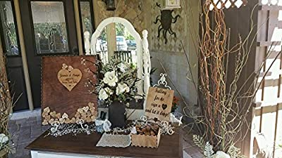 Wedding Guest Book Alternative Drop Box Western Package with 100 Hearts