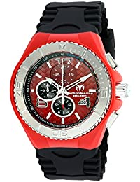 Men's Cruise Jellyfish Stainless Steel Quartz Watch with Silicone Strap, Black, 29 (Model: TM-115113)