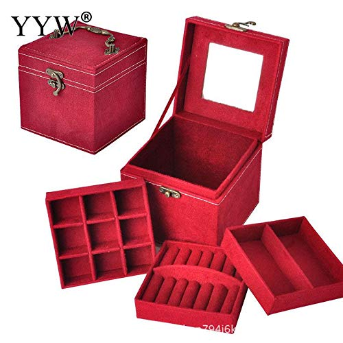 Eye Liner Gel - 12x12x12cm Makeup Organizer Storage Boxes Velvet Square Jewelry Box Cases Holder Display Stand 3 - Box Box Piece Diy Wood Gift Ring Case Velvet Box Gel Box Mirror Stand Jewelry Bo
