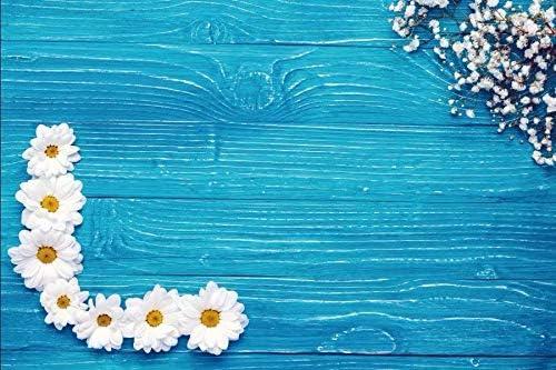 Blue Wooden Board and Dandelion Wedding Baby Photography Background Custom Photography Studio Photography Background