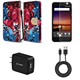 ZTE Blade Vantage | ZTE Avid 4 | ZTE Tempo X - Bundle: Synthetic Leather Wallet [Card Slots] Case - (Butterfly Symphony), Screen Protector, 10W High Power Wall Charger, Micro USB Cable, Atom Cloth
