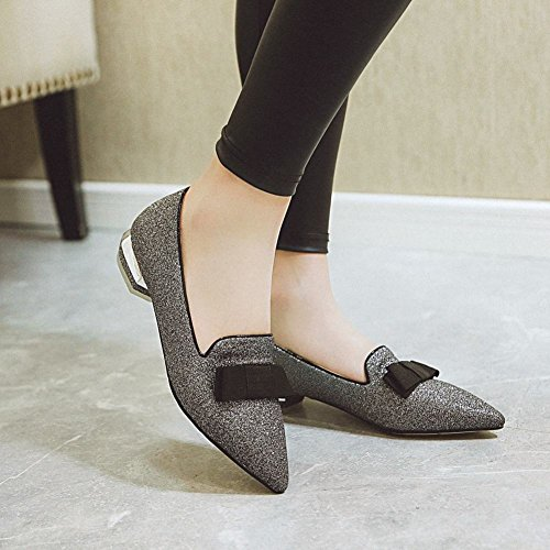 Carolbar Women's Bling Bling Lovely Low Heel Bow Pointed Toe Court Shoes Black k95QzT