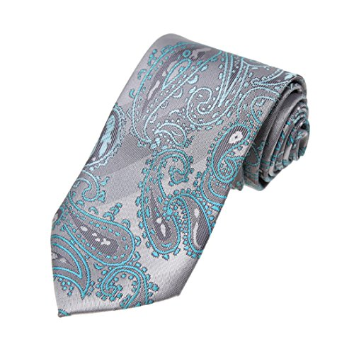 DAA7B25C Grey Cyan Patterned Microfiber Neckwear Italian Formal Wear Tie By Dan (Italian Neckwear)