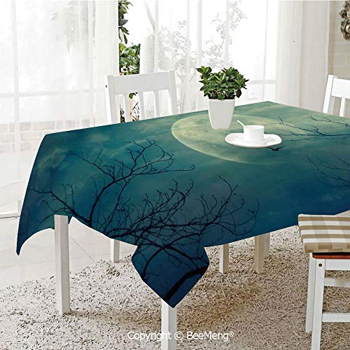 BeeMeng Spring and Easter Dinner Tablecloth,Kitchen Table Decoration,Horror House Decor,Halloween with Full Moon in Sky and Dead Tree Branches Evil Haunted Forest,Blue,59 x 83 -