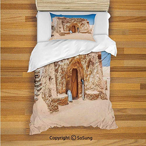 - Galaxy Kids Duvet Cover Set Twin Size, One of Abandoned Sets of Movie in Tunisia Desert Phantom Menace Galaxy Wars Themed 2 Piece Bedding Set with 1 Pillow Sham,Brown Blue