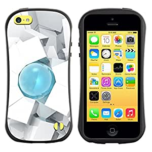Paccase / Suave TPU GEL Caso Carcasa de Protección Funda para - Drop 3D Art Cube Polygon White - Apple Iphone 5C