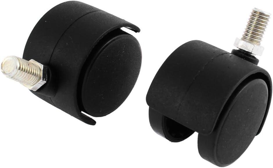 Sourcingmap–a15110300ux067710mm giratorio de tallo 1,5pulgadas Diámetro de rosca Silla de oficina Caster ruedas–negro (2piezas)