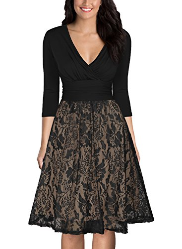 MUSHARE Women's Elegant V-Neck Lace A-line Party Swing Evening Dress (Black, XX-Large) - A-line Lace Evening Gown