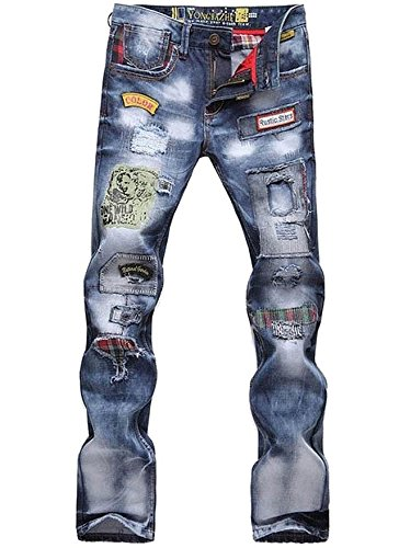 Washed Straight Leg Jeans - Mens and Boys Torn Patched Holey Washed Words Washed Straight Leg Casual Denim Jeans