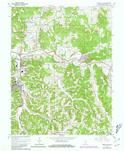YellowMaps French Lick in topo map, 1:24000 Scale, 7.5 X 7.5 Minute, Historical, 1965, Updated 1981, 26.9 x 22 in - Paper