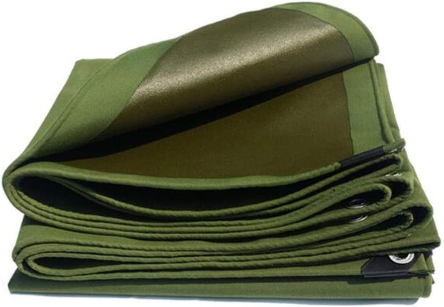 DALL 防水シートの頑丈なキャンバスの防水布の反紫外線屋外の日焼け止めの金属のバックルの多目的600g / Mの² (Color : 緑, Size : 4×6m) 緑 4×6m