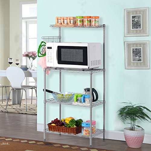 Down Side Shelf (LANGRIA 3 Tier Microwave Stand Storage Rack, Kitchen Wire Shelving Microwave Oven Baker's Rack with Spice Rack Organizer,Silver Grey)