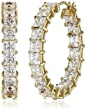 Platinum or Gold-Plated Sterling Silver Princess-Cut Swarovski Zirconia Hoop Earrings