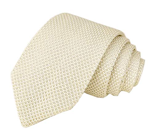 (Elfeves Men's Skinny Knit Tie Vintage Smart Patterned Solid Color Casual Necktie (One Size, beige))
