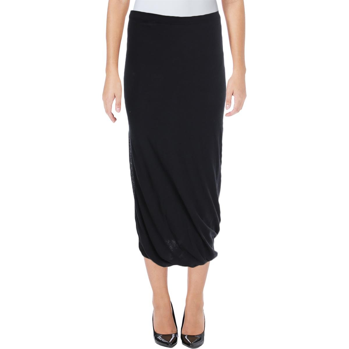 Vince Womens Comfort Waist Pull On Wrap Skirt Black L